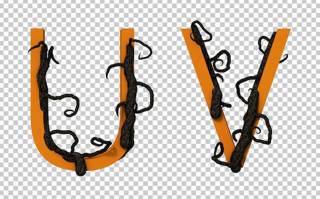 Renderização 3d de um galho assustador de árvore rastejando no alfabeto u e no alfabeto v