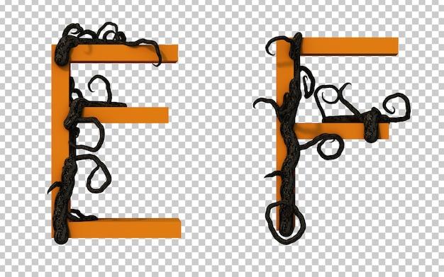 Renderização 3d de um galho assustador rastejando no alfabeto e e no alfabeto f
