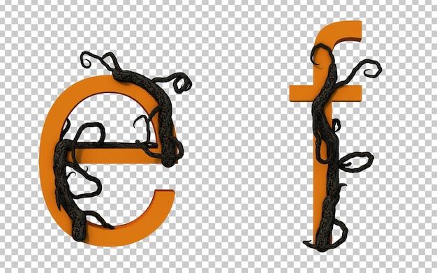Renderização 3d de um galho assustador rastejando no alfabeto
