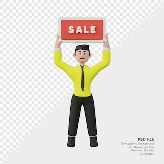 Renderização 3d de um homem levantando uma placa de venda