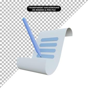 Renderização 3d de um ícone de nota com uma caneta