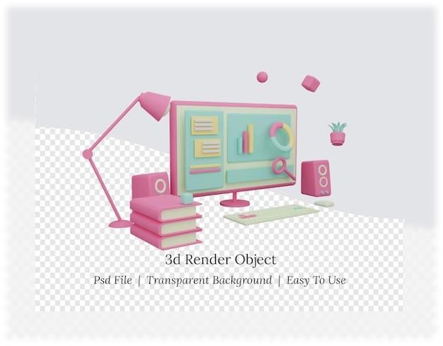 Renderização 3d de um plano de fundo com computador e livro
