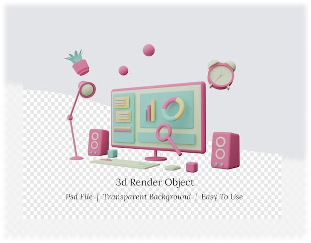 Renderização 3d de um plano de fundo com computador