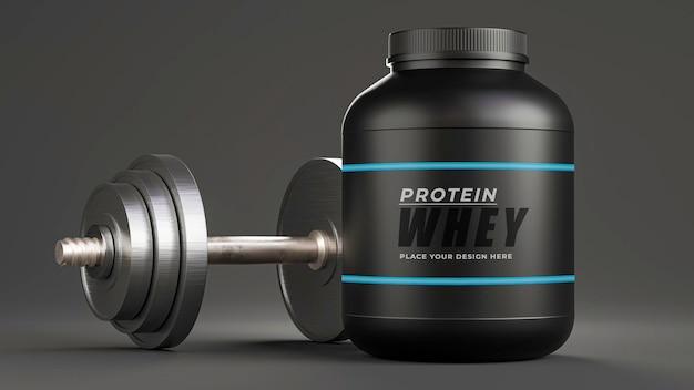 Renderização 3d de uma garrafa de proteína de soro de leite realista com halteres para seus produtos