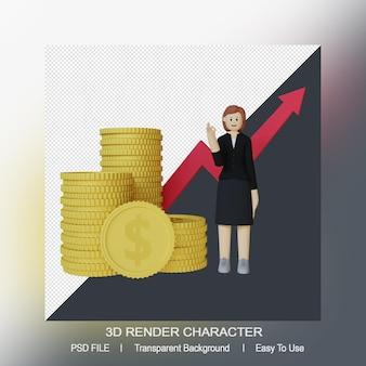Renderização 3d de uma mulher sorridente ao lado de uma enorme pilha de moedas de ouro