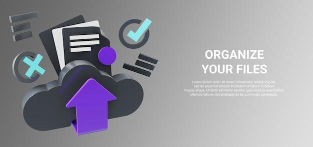 Renderização 3d de upload, download ou ferramentas de gerenciamento de documentos com o símbolo de seta