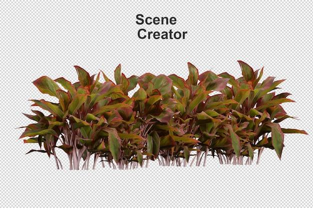 Renderização 3d de vários tipos de arranjos de arbustos