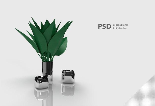 Renderização 3d de vaso de planta isolada
