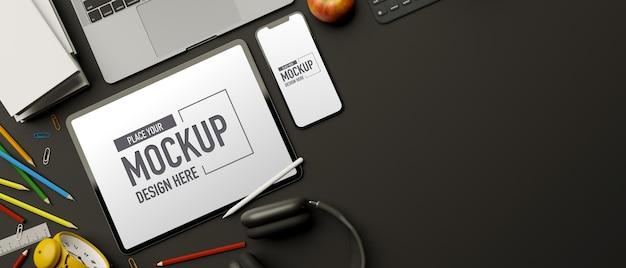 Renderização 3d de vista superior, espaço de trabalho criativo com papelaria tablet smartphone laptop e espaço de cópia