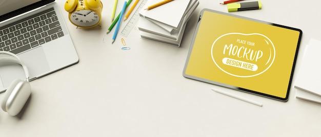 Renderização 3d de vista superior, espaço de trabalho mínimo com acessórios de papelaria de tablet laptop e espaço de cópia