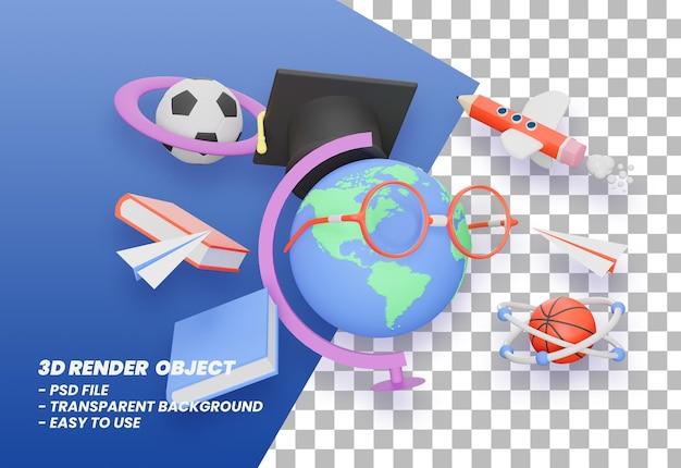 Renderização 3d de volta às aulas ilustração premium psd