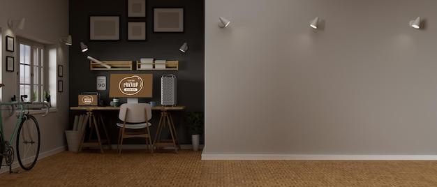 Renderização 3d design de interiores de escritório doméstico com maquete de computador