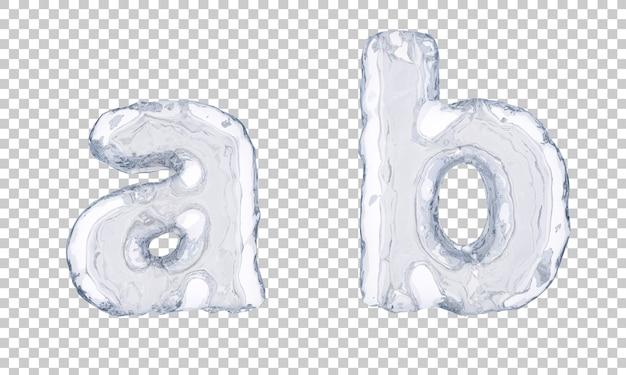 Renderização 3d do alfabeto de gelo ae alfabeto b