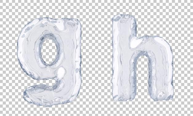 Renderização 3d do alfabeto de gelo ge alfabeto h
