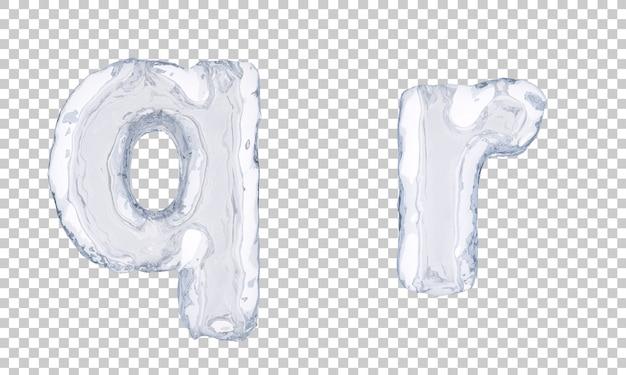 Renderização 3d do alfabeto de gelo q e alfabeto r