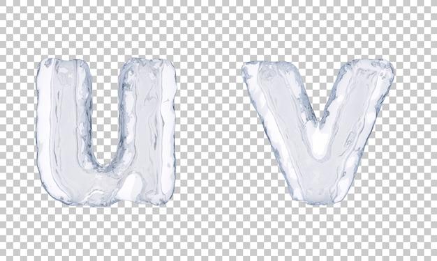 Renderização 3d do alfabeto de gelo u e alfabeto v
