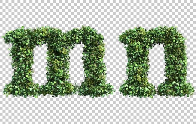 Renderização 3d do alfabeto em minúsculas jardim vertical me alfabeto n