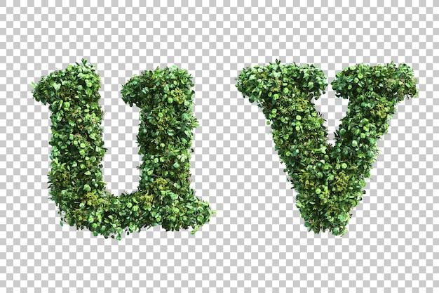 Renderização 3d do alfabeto em minúsculas jardim vertical u e alfabeto v