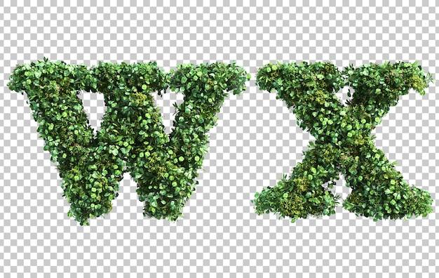Renderização 3d do alfabeto em minúsculas jardim vertical w alfabeto x
