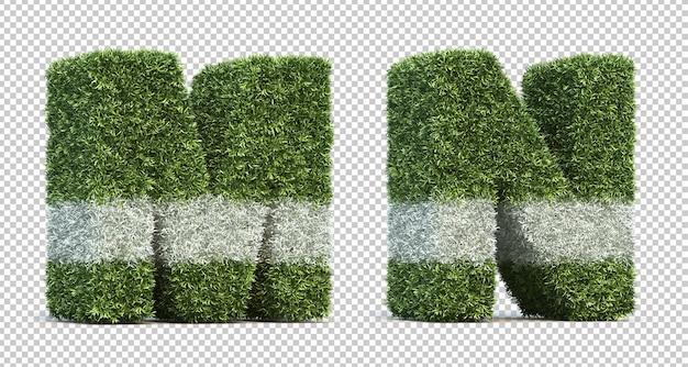 Renderização 3d do alfabeto m e do alfabeto n do campo de jogos de grama