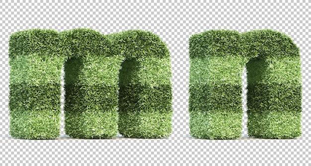 Renderização 3d do alfabeto me do campo de jogo da grama n
