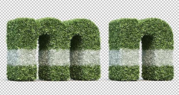 Renderização 3d do alfabeto meo alfabeto n do campo de jogo de grama