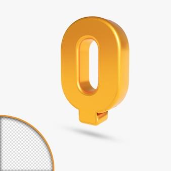 Renderização 3d do alfabeto metálico dourado