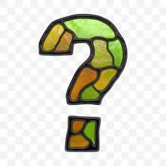 Renderização 3d do alfabeto vitral ponto de interrogação mosaico multicolor isolado no fundo branco