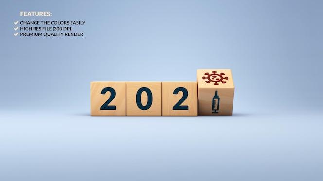Renderização 3d do ano novo de 2021 e do conceito de vacina ambiciosa em cubos de madeira