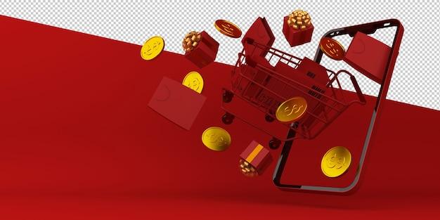 Renderização 3d do aplicativo móvel de compras online