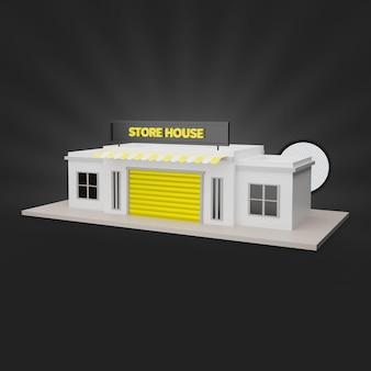 Renderização 3d do armazém amarelo