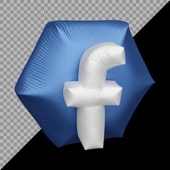 Renderização 3d do balão do ícone do facebook
