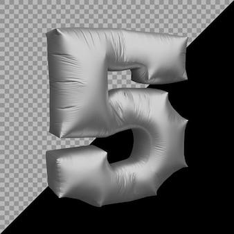 Renderização 3d do balão prateado número 5