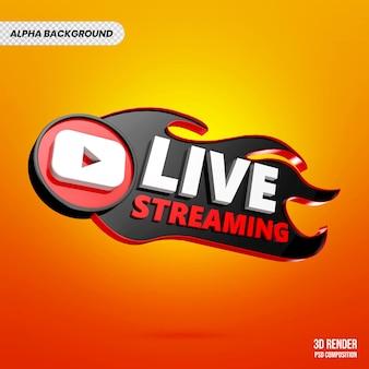 Renderização 3d do banner da transmissão ao vivo do youtube