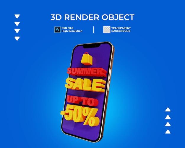 Renderização 3d do banner de venda com telefone