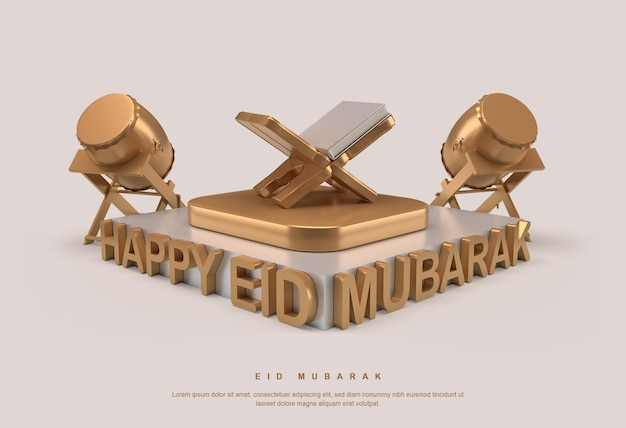 Renderização 3d do banner eid mubarak