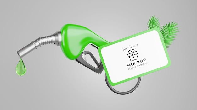 Renderização 3d do bico de combustível com maquete de cartão-presente
