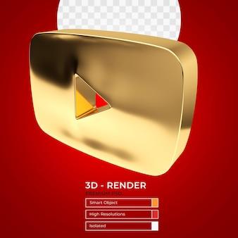 Renderização 3d do botão de reprodução ouro do youtube