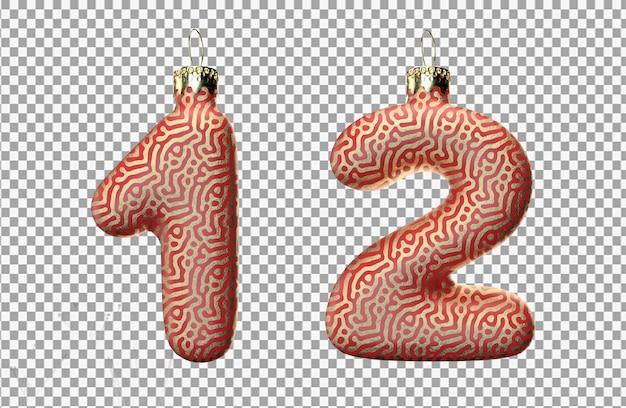 Renderização 3d do brinquedo de natal número um e dois