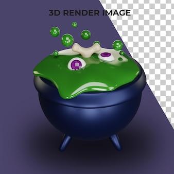 Renderização 3d do caldeirão mágico com o conceito de halloween
