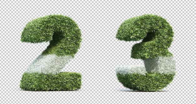 Renderização 3d do campo de grama número 2 e número 3