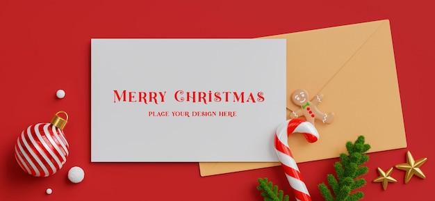 Renderização 3d do cartão branco com conceito de feliz natal e feliz ano novo para a exibição do seu produto