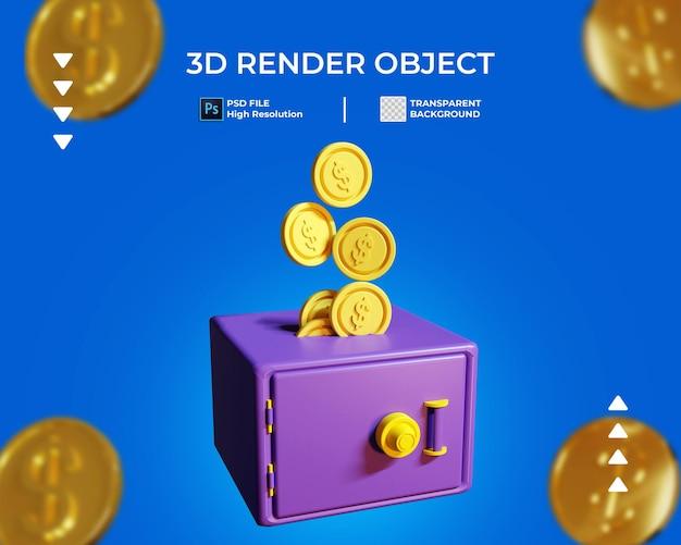 Renderização 3d do cofre com ícone de moeda de ouro isolado