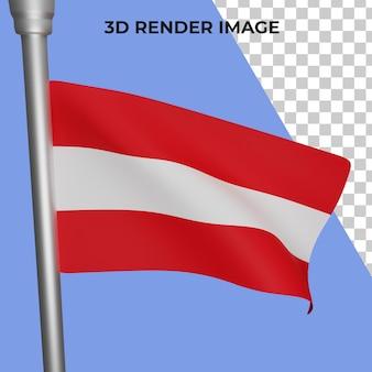 Renderização 3d do conceito da bandeira da áustria psd premium do dia nacional da áustria