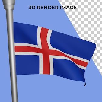 Renderização 3d do conceito da bandeira da islândia - dia nacional da islândia