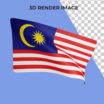 Renderização 3d do conceito da bandeira da malásia psd premium do dia nacional da malásia