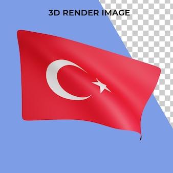 Renderização 3d do conceito da bandeira da turquia psd premium do dia nacional da turquia