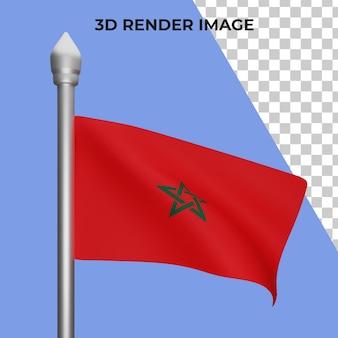 Renderização 3d do conceito da bandeira de marrocos - dia nacional de marrocos