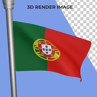 Renderização 3d do conceito da bandeira de portugal - dia nacional de portugal