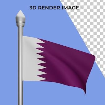 Renderização 3d do conceito da bandeira do catar - dia nacional do catar